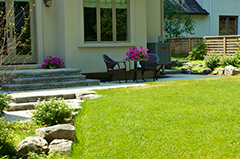 a clean and maintained back yard lawn
