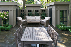 A Newly Built Wooden Landscape Patio with Garden Furniture