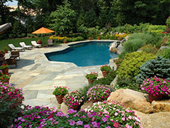 Backyard Swimming Pool With Beautiful Landscaping in a York Mills House