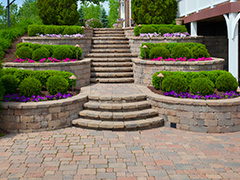 Perfect Paved Landscaping in a Backyard of a House